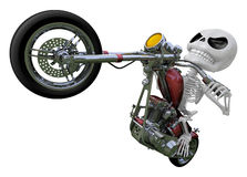 3D Skeleton Mascot is motorcycle do an acrobatic movement. 3D Sk Royalty Free Stock Photos