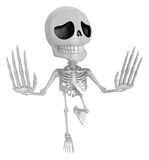3D Skeleton Mascot is No gestures of both hands. 3D Skull Charac Royalty Free Stock Images