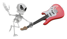 3D Skeleton Mascot is performance the Wielding a electric guitar Stock Photos