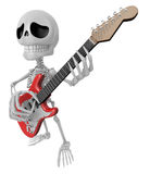 3D Skeleton Mascot is played the guitar with nimble fingers. 3D Royalty Free Stock Image