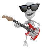 3D Skeleton Mascot is played the guitar with nimble fingers. 3D Stock Photography