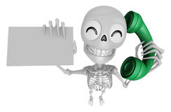3D Skeleton Mascot Please call me today. 3D Skull Character Desi Stock Photos