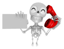 3D Skeleton Mascot Please call me today. 3D Skull Character Desi Royalty Free Stock Photos