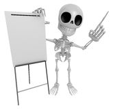 3D Skeleton Mascot is presentation in front of the a briefing ch Stock Images