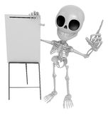 3D Skeleton Mascot is presentation in front of the a briefing ch Royalty Free Stock Photos