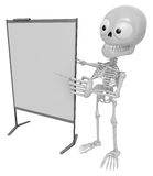 3D Skeleton Mascot is presentation in front of the a briefing ch Royalty Free Stock Image