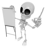 3D Skeleton Mascot is presentation in front of the a briefing ch Royalty Free Stock Images