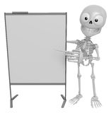 3D Skeleton Mascot is presentation in front of the a briefing ch Stock Image