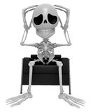 3D Skeleton Mascot That problem is such a headache. 3D Skull Cha Stock Photo