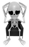 3D Skeleton Mascot That problem is such a headache. 3D Skull Cha Stock Photography