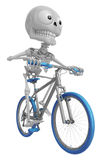 3D Skeleton Mascot is Riding a bicycle. 3D Skull Character Desig Stock Photography