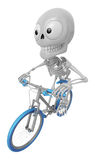 3D Skeleton Mascot is Riding a bicycle. 3D Skull Character Desig Royalty Free Stock Photography