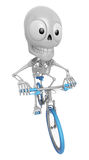 3D Skeleton Mascot is Riding a bicycle. 3D Skull Character Desig Royalty Free Stock Photos