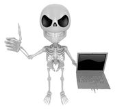 3D Skeleton Mascot the right hand best gesture and left hand is Royalty Free Stock Images