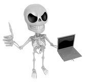 3D Skeleton Mascot the right hand best gesture and left hand is Stock Photography