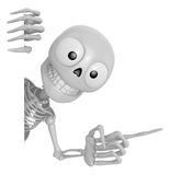3D Skeleton Mascot the right hand point a finger gesture, left h Stock Photography