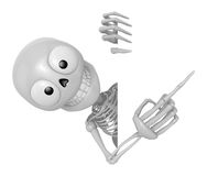 3D Skeleton Mascot the right hand point a finger gesture, left h Stock Photo