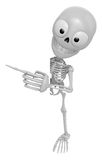3D Skeleton Mascot the right hand point a finger gesture, left h Stock Image