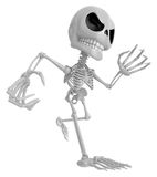 3D Skeleton Mascot is scaring the daylight out of somebody. 3D S Royalty Free Stock Image