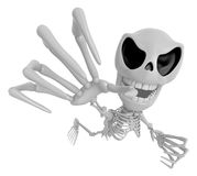 3D Skeleton Mascot is scaring the daylight out of somebody. 3D S Stock Photography