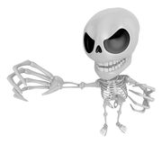 3D Skeleton Mascot is scaring the daylight out of somebody. 3D S Royalty Free Stock Images