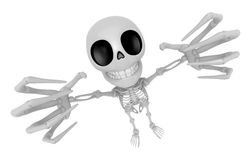3D Skeleton Mascot is scaring the daylight out of somebody. 3D S Stock Photo