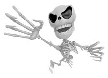 3D Skeleton Mascot is scaring the daylight out of somebody. 3D S Royalty Free Stock Photo