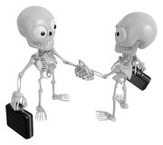3D Skeleton Mascot shake hands with each other. 3D Skull Charact Stock Image