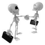 3D Skeleton Mascot shake hands with each other. 3D Skull Charact Royalty Free Stock Images