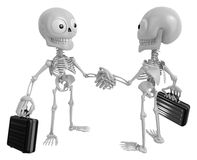 3D Skeleton Mascot shake hands with each other. 3D Skull Charact Royalty Free Stock Photo