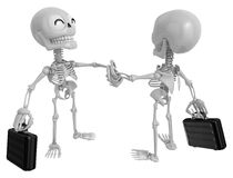 3D Skeleton Mascot shake hands with each other. 3D Skull Charact Stock Images