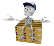 3D Skeleton Mascot is siting on top of the delivery boxes. 3D Sk Royalty Free Stock Photos