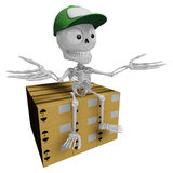 3D Skeleton Mascot is siting on top of the delivery boxes. 3D Sk Stock Photography