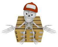 3D Skeleton Mascot is siting on top of the delivery boxes. 3D Sk Stock Images