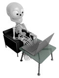 3D Skeleton Mascot Sitting on the couch working on a laptop. 3D Royalty Free Stock Photo
