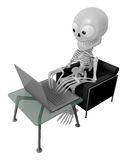 3D Skeleton Mascot Sitting on the couch working on a laptop. 3D Royalty Free Stock Photos