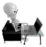 3D Skeleton Mascot Sitting on the couch working on a laptop. 3D Royalty Free Stock Image