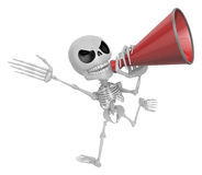 3D Skeleton Mascot is speakn through a megaphone. 3D Skull Chara Royalty Free Stock Photos
