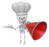 3D Skeleton Mascot is speakn through a megaphone. 3D Skull Chara Stock Photography