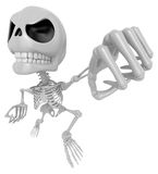 3D Skeleton Mascot is the strike with one's fist. 3D Skull Chara Royalty Free Stock Photo