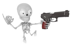 3D Skeleton Mascot is the strike with one's fist. 3D Skull Chara Royalty Free Stock Photography