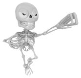 3D Skeleton Mascot is the strike with one's fist. 3D Skull Chara Stock Photo