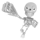 3D Skeleton Mascot is the strike with one's fist. 3D Skull Chara Stock Images
