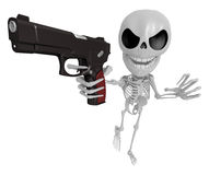 3D Skeleton Mascot is the strike with one's fist. 3D Skull Chara Royalty Free Stock Images