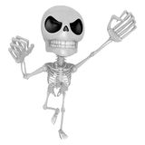3D Skeleton Mascot is the strike with one's fist. 3D Skull Chara Stock Photos