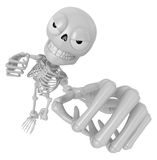 3D Skeleton Mascot is the strike with one's fist. 3D Skull Chara Stock Image