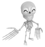 3D Skeleton Mascot Suggests the direction with both hands. 3D Sk Royalty Free Stock Photo