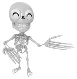 3D Skeleton Mascot Suggests the direction with both hands. 3D Sk Royalty Free Stock Images