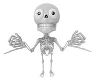 3D Skeleton Mascot is Taking a gesture that promises. 3D Skull C Royalty Free Stock Photo