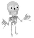 3D Skeleton Mascot is Taking a gesture that promises. 3D Skull C Stock Images